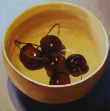Cherries in a Bowl, 2016, oil on board, 12 x 12""