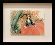 "Cherry, 2011, gouache, carbon pencil on board, f.s 11 x 13 1/2"" / i.s. 5 3/4 x 8 1/4"""