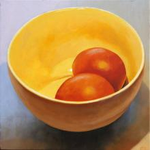 Eggs in a Bowl, 2016, oil on board, 12 x 12""