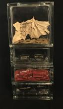 """Gentrification's Song, 2017, intaglio, embossing, found objects, 18 1/2 x 8 x 4"""""""