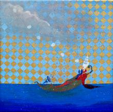 """Ghost of a Chance, 2012, acrylic and goauche on canvas, f.s. 13 1/2 x 13 1/2""""/ i.s. 12 x 12"""""""