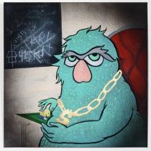 "Greedy Green Monster, 2015, gouache on paper, 8 x 8"""
