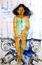 Isabel Study, 2004, mixed media, 15 x 10""