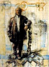 Man at Post, 2004, mixed media, 15 x 11""