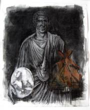 Patriarch, Phillis, Mende, 2007, charcoal with xerox transfer, 35 1/2 x 30""