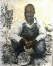 Prodigal Man, 2007, acrylic, charcoal, silkscreen, transfer on paper, 29 1/2 x 22""