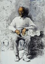 Royal Elder Man, 2005, mixed media on paper, 42 x 30""