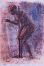 "Self Recovery, 2013, charcoal, silkscreen frame, f.s. 34 3/4 x 26 7/8"" / i.s. 29 3/4 x 22"""