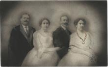"""Showboat, 2015, goldleaf and gouache on vintage postcard, 3 3/8 x 5 3/8"""""""