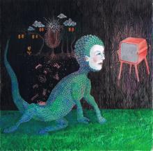 "Tele-Visions, 2014, gouache on paper, 7 1/2 x 7 1/2"""
