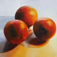 Three Oranges (Blood), 2016, oil on board, 24 x 24""