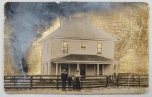 "Tornado, 2015, goldleaf and gouache on vintage postcard, 3 3/8 x 5 3/8"""