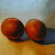 Two Brown Eggs, 2016, oil on board, 12 x 12""
