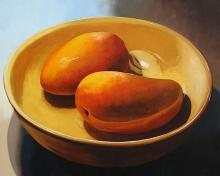 """Two Mangoes in a Bowl, 2016, oil on board, 24 x 30"""""""