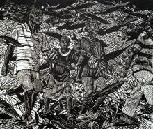 "Wandering Boys, 2013, woodcut frame, f.s. 42 x 48 1/2"" / i.s. 36 x 42"""