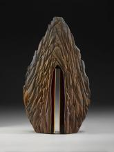 ** SOLD ** Red Mountain Door 2009 cast & cut bullseye glass,fused steel 19 x 11 x 4""