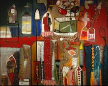 """Vortext Series #1 2005 Oil painting with mixed media on wood 48 x 60"""""""
