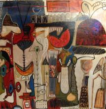 """Noumenon Series #3 2006 Oil painting with mixed media on wood 48 x 48"""""""