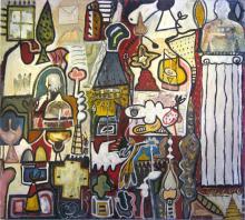 """Noumenon Series #16 2007 Mixed media & oil on panel 43 x 48 x 4"""""""