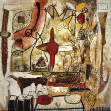 Lethia Puzzle #5 2005 Acrylic with mixed media on wood 48 x 48""