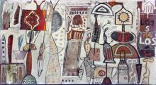 """Mapmaker #16, 2014 mixed media and oil on panel, 24 x 48"""""""