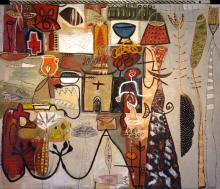 Vortext Series #2 2005 Oil painting with mixed media on wood 49 x 58""
