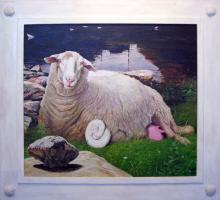 "Fauna (Bona Dea) with Seraphim Before an Omphalus, 2012, acrylic on panel, f.s. 44 1/2 x 48"" / i.s. 33 x 37"""