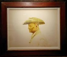 "Cowboy, c. 1974, acrylic wash on paper, i.s. 18 x 14""/f.s. 21 x 25"", (Secondary Market)"