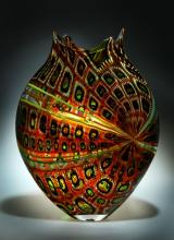 Foglio (Tigereye) - blown glass, cane, murine - 12 x 16 x 3""