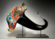 Bloom (multicolor) - 2013 blown, hot sculpted glass, murine, matte finish 18 x 11 x 15""