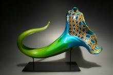 Bloom (green/blue), 2012, blown, hot sculpted glass, murine, matte finish, 21 x 13 x 12""