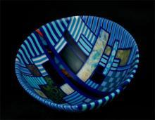 Blues in Nine Times 2012 kiln cast, drop formed mosaic glass 8 1/2 x 14 in