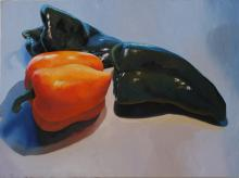 Two Poblano Peppers and Yellow Pepper, 2011, oil on board, 36 x 48""