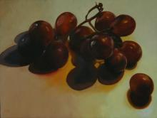 Red Grapes, 2016, oil on board, 12 x 16""