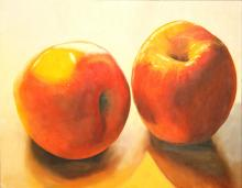 "Two Red Apples, oil on board, 12 x 16"", 2015"