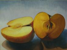 Cut Apple, 2015, oil on board, 12 x 16""
