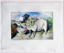"Garlanded Sheep 1998 Etching with unique hand coloring; ed. 43/50 10 x 12 3/4""/ I.S.: 5 3/4 x 9"""