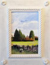 "Goats in Shadowed Way, 2011, acrylic on panel, f.s. 18 x 13 1/2"" / i.s. 11 1/2 x 7"""