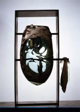 """Fish Hanger #38 2003 blown, sculpted glass w/silver leaf engraving/copper plating, cut, polished 35.5 x 16.5 x 7"""""""