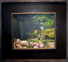 "The Hireling Shepherd 2010 Acrylic on panel Frame size: 17 3/4 x 20""/i.s. 9 1/2 x 11 7/8"""
