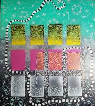 """Human Code, 2017, spray paint, acrylic markers, pigment inks on wooden panel, 29 3/4 x 24"""""""