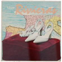 """The Rivieras, 2010, mixed media on vintage album cover, f.s. 18 x 18"""""""