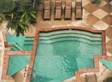 "Poeyfarre Pool with Patio 2009 handmade photo collage on panel 26 x 19"""
