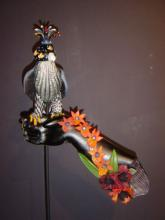 """Red Orchid Falcon 2005 blown and sculpted glass 25 x 14 x 7"""""""