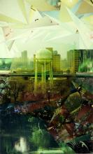 "Beyond Manhattan 2008 Mixed media collage on panel 50 x 30"""