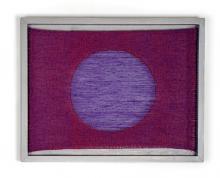 "Hole, 2015, handwoven cottolin, maple frame, paint, 14 x 18 x 2"""