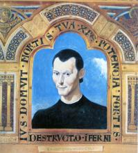Saint Machiavelli 2008 collage, acrylic on paper 8 1/2 x 8""