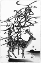 "The one who chases a deer fails to see the mountain 鹿を追うものは山を見ず (When you keep your eyes on a small pleasure or prize, you are not able to see the big picture.)) 2015 graphite on paper 16"" x 9"""