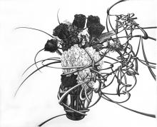 """The neighbor's flowers are redder 隣の花は赤い (Same meaning as """"the grass is always greener next door"""".) 2015 graphite on paper 16 x 10 1/4 """""""