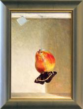 Moth Devouring a Pear 2004 Acrylic on panel 14 x 10""